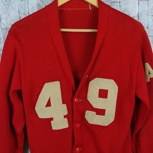Vtg Red Letterman Sweater Anderson  Wool Flaws